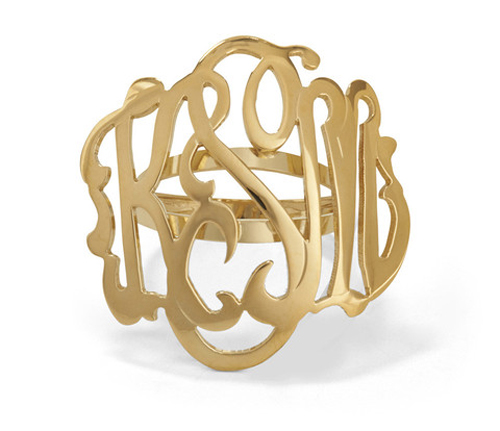 Monogram ring with open style