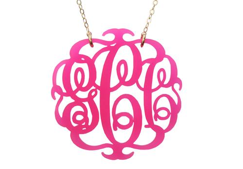 Drawing of monogram jewelry pendant