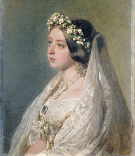 Queen Victoria in her white wedding dress