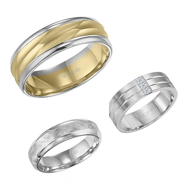 A selection of Artcarved wedding bands
