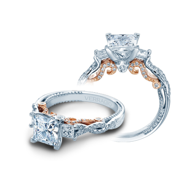 A diamond engagement ring for the bridge from Verragio.