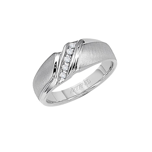 This men's diamond ring features five diamonds.