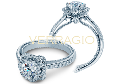 Circle engagement rings are available from Verragio