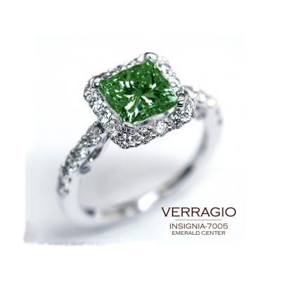 Emerald engagement ring is available at Ben David Jewelers