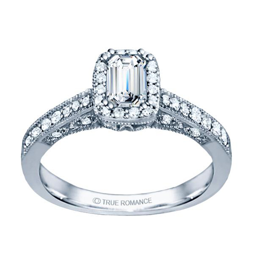 A popular Halo engagement ring at Ben David Jewelers