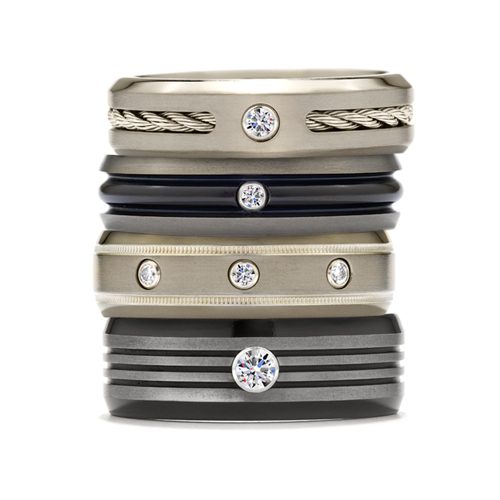 Hearts on Fire wedding bands for the bridegroom.