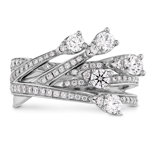 The Cross Over Diamond Ring has numerous diamonds.
