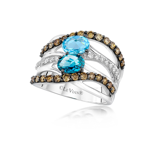 Blue diamonds featured in this ring sold by Ben David Jewelers