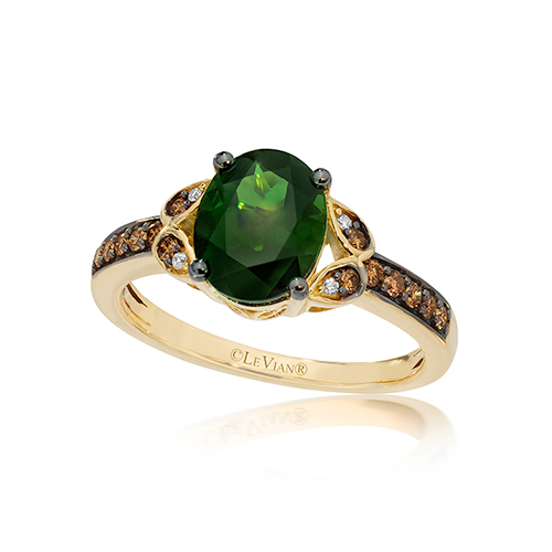 A green diamond ring available from Ben David Jewelers