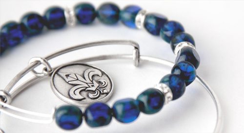 Blue beaded bangle bracelet.