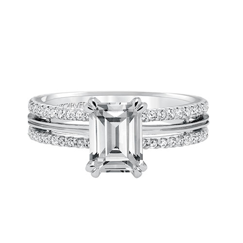 Swap out the Emerald Cut Diamond for an Emerald in this engagement ring.