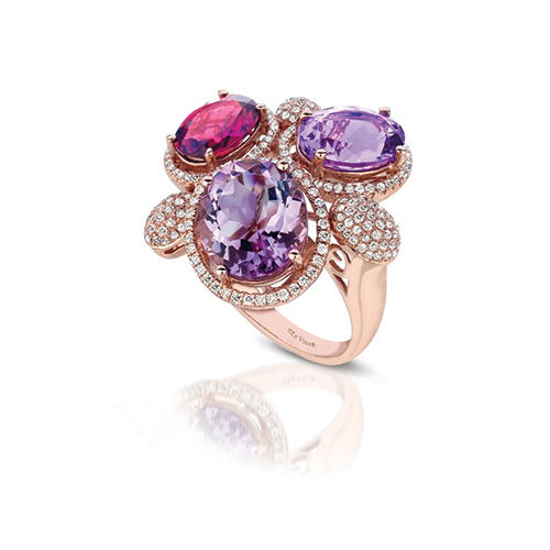 Rings with pink diamonds are created by LeVian Jewelers.