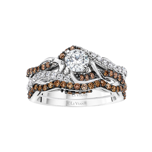 Engagement ring with chocolate diamonds from LeVian and Ben David Jewelers