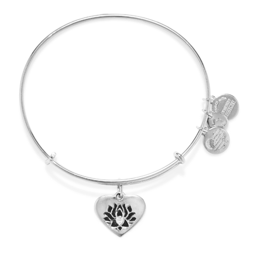 The lotus flower on a heart charm bangle designed by Alex and Ani