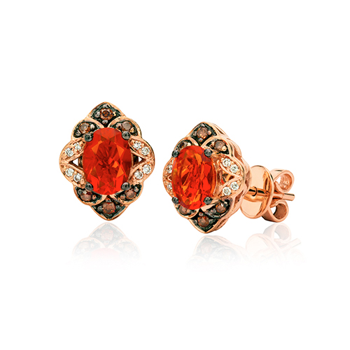 Red bridal earrings designed by LeVian jewelers.