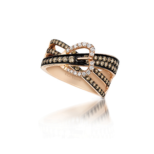 Chocolate diamond rings usually have white diamonds in the setting also.