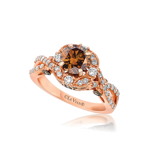 Levian Chocolate engagement rings with white diamonds.