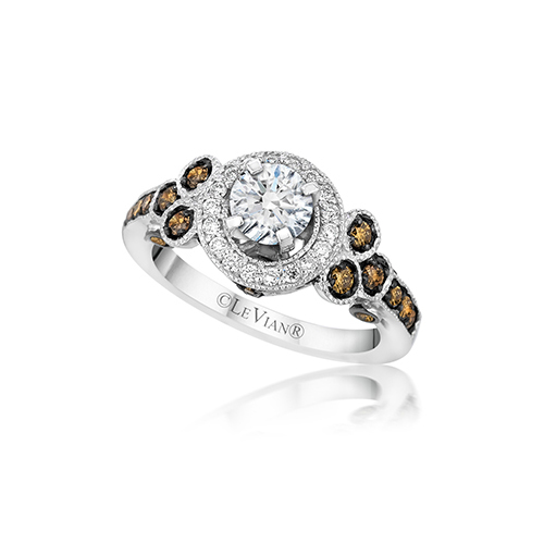 LeVian White Diamond and Chocolate Diamond Engagement Ring that can be engraved.