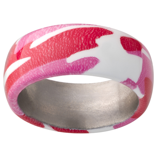 Pink camo wedding rings for your camo wedding.