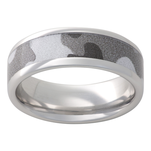 Wedding band in grey camo by Jewelry Innovations.