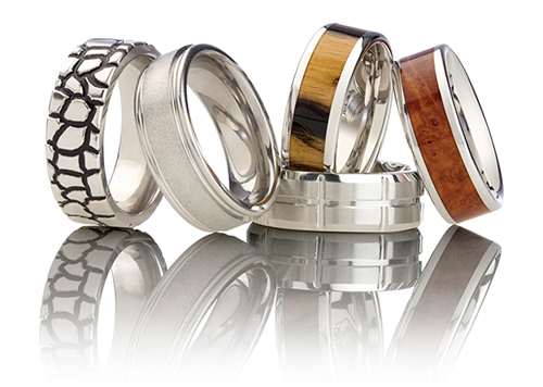 Men's rings and wedding bands.