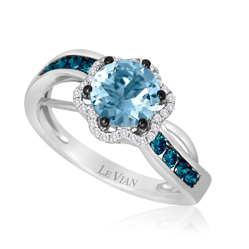 The engagement ring from LeVian Jewelers is sold by Ben David Jewelers