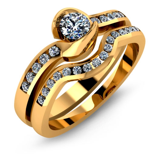 A engagement ring for your relationship made in yellow gold with diamonds.