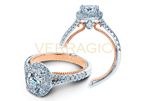Verragio Engagement rings with a diamond band.
