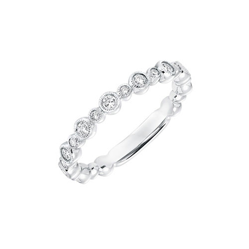 Bezel style wedding band sold by Ben David Jewelers.