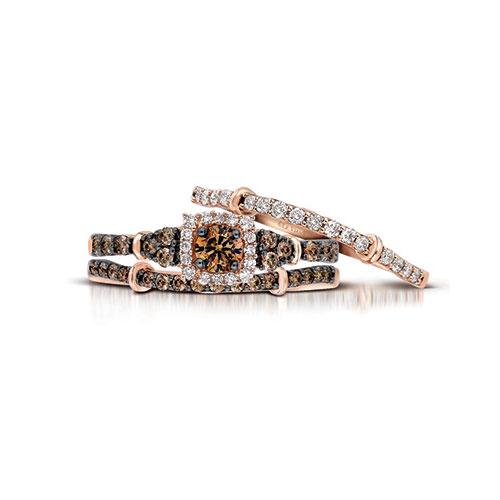 Chocolate Diamonds In A Cushion Diamond Engagement Ring