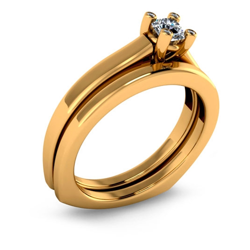 Yellow gold affordable engagement ring in a classic style.