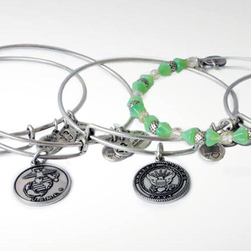 Bangle bracelets celebrating the US Military.