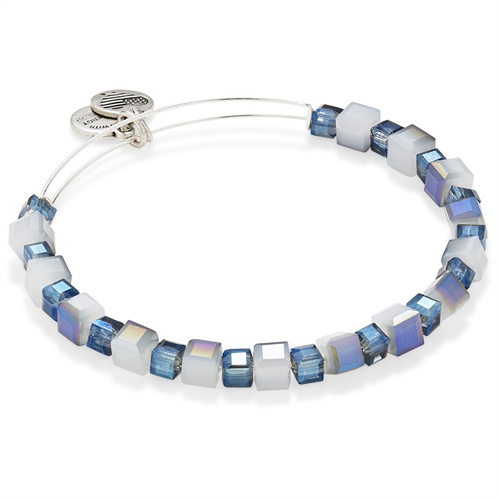 Alex and Ani created this sterling bracelet with blue and white beads.