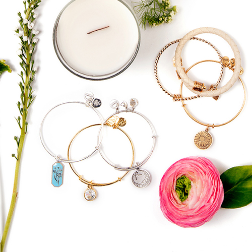Mother's day collection of Alex and Ani bracelets.