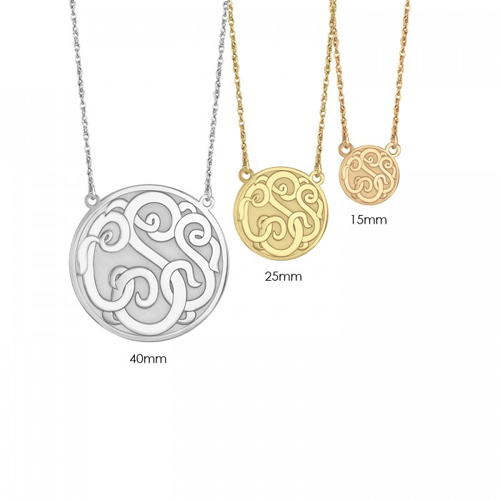 Sterling silver monogram jewelry sold by Ben David Jewelers.