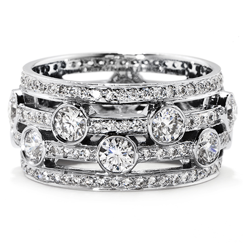 A white gold multiple diamond ring sold by Ben David Jewelers