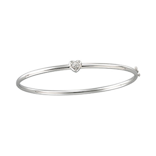 Diamond and a heart adorn this silver bracelet.