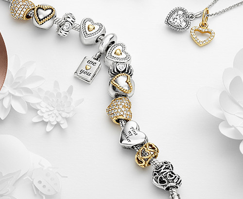 Pandora designs bracelets in sterling silver and also gold.