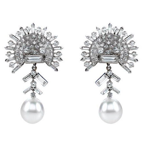 Pearl and diamond earrings are found at private estate sales.