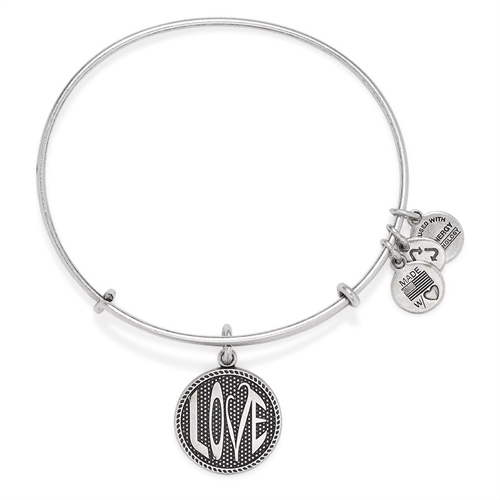 Bangle bracelet in silver with Love charm.