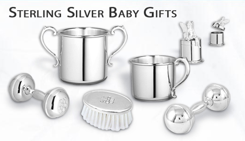 Engrave these sterling silver baby gifts.