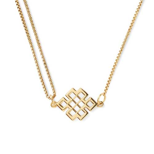 This necklace is made of silver and then gold plated.