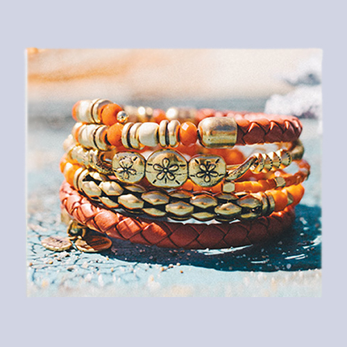 Bangles in Red Coral and Oranges from Alex and Ani.