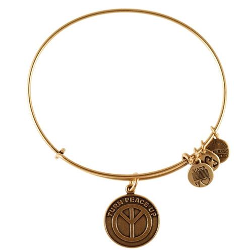 Alex and Ani designed the Turn Peace Up Bangle Bracelet.