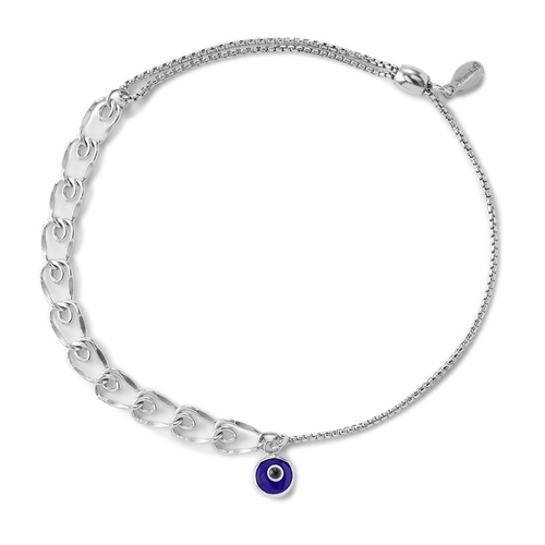 A silver chain bracelet by Alex and Ani.