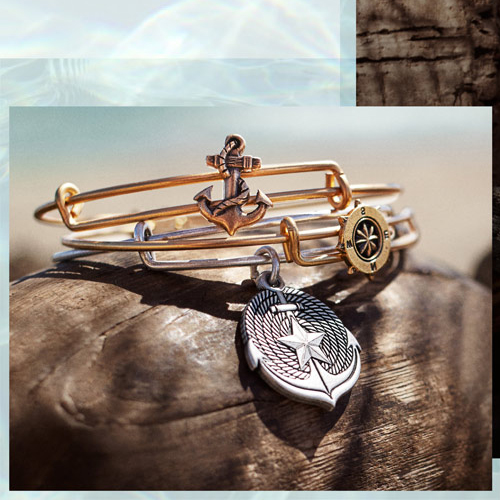 Alex and Ani Uncharted Voyage bangles in gold.