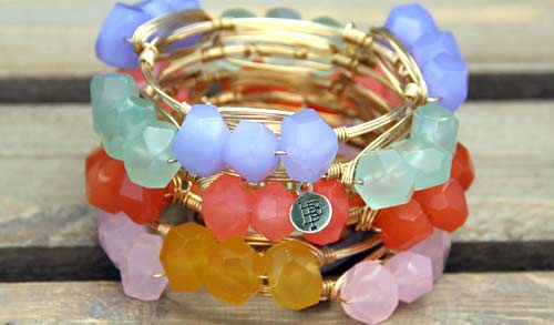 Bangle bracelets with glass beads from Bourbon and Bowties.