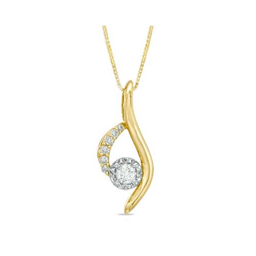 A 14K gold diamond pendant sold at Ben David Jewelers.