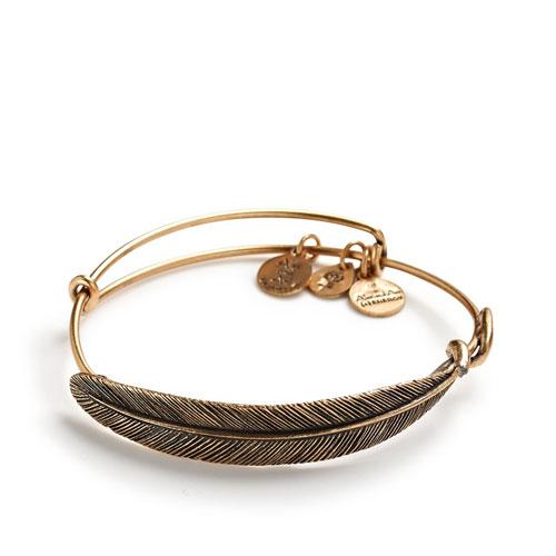 A metal feather bracelet .