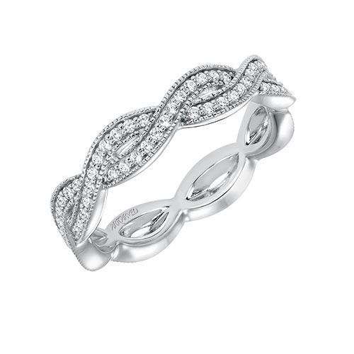 Intertwining ropes of diamonds are featured in this wedding ring.